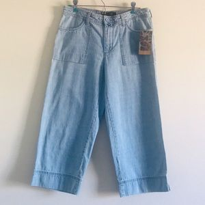 NWT LEE RIVETED WIDE LEG JEAN ANKLE PANT CAPRIS
